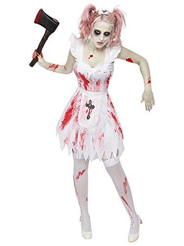 Generique - Zombie Kostüm Brautjungfer Halloween Damenkostüm Weiss-rot-schwarz S / M