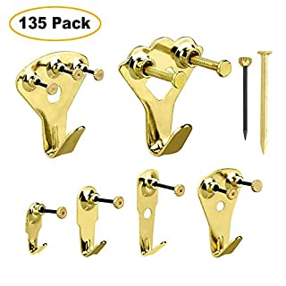 Picture Hooks CEEBON Picture Hangers Heavy Duty Picture Frame Hanging Kit for Wall and Wood with Nails Support 10-100lb(135 Pieces)