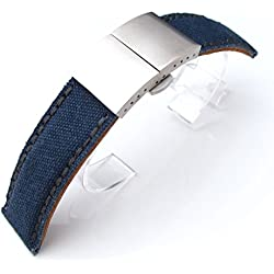 24mm MiLTAT Navy Washed Canvas Watch Band Dark Grey Wax Stitching, Brushed Deployant Clasp, AB