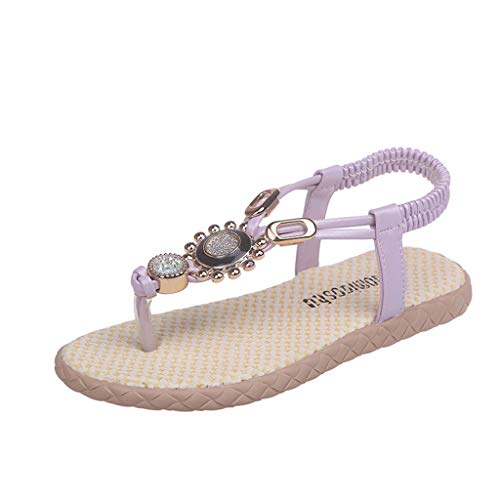 AIni Schuhe Baby Mode Beiläufiges 2019 Neuer Sommer Kinder Kinder Baby Mädchen Böhmen Crystal Strand Prinzessin Schuhe Sandalen Krabbelschuhe Taufschuhe (35,Lila)
