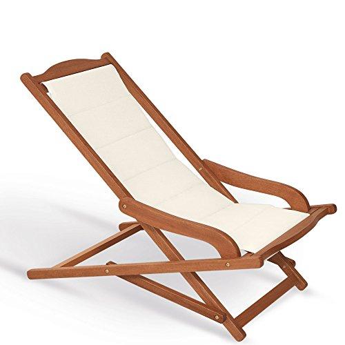 Fauteuil chaise longue rembourrée 75 x 103 x 63 cm, Mod.Biancospino 2pz Chaise longue en bois, accoudoirs ergonomiques, col.Ecru, fauteuil relax en bois rembourrée, Chaise longue terrasse, appuie-tête assorti inclus