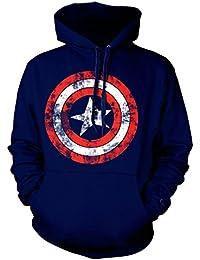 Officiel Captain America Shield Distressed Logo Sweater à capuche - Bleu marine Hoodie