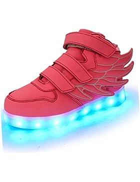 Aidonger Unisex Kinder 7 Farbe Farbwechsel Turnschuhe USB Aufladen LED Sneaker Leuchtend High-top Sport Schuhe
