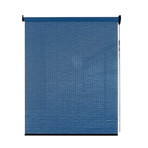 Seitenzug Springrollos Aufrollen Jalousien, Bambus Roller Fenster Jalousien, Lichtfilterung Lifting Partition Vorhang für Wohnzimmer/Balkon, Dunkelblau (größe : 140x160cm)