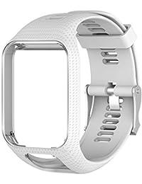 Favourall Correa de silicona de repuesto para reloj TomTom 2/3 serie GPS, deportivo, correa de silicona, color blanco