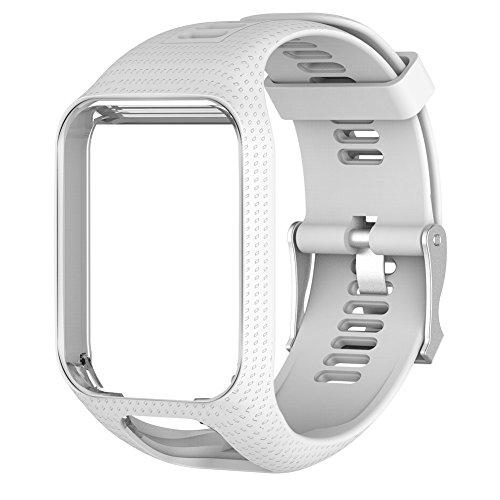 Silicagel de remplacement en gel de silicone Bracelet de montre bracelet Sangle Sport Bracelet pour TomTom 2/3Series GPS Smartwatch Bracelet, blanc