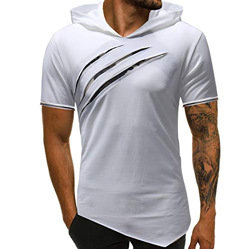 67ee3a9e1d6ce7 MRULIC Shirt Blouse Mens Handsome Boy Personality Men s Pure Color Hoodie  Sport Short Sleeve Shirt Top
