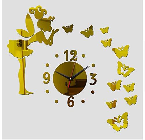 (Menddy Quarz Wohnzimmer Uhr 3D Uhr DIY Wanduhren Acryl Spiegel Aufkleber Dekoration Moderne Gold 40cmx70cm)