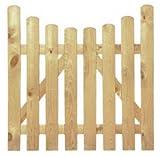 StaketenTür 'Premium' 100x100/85 cm - unten – kdi / V2A Edelstahl Schrauben verschraubt - aus getrocknetem Holz glatt gehobelt – nach unten gebogene Ausführung - kesseldruckimprägniert