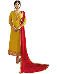 Special Mega Sale Festival Offer C&H Yellow Georgette Embroidery Designer Embroidery Salwar Suits