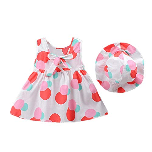 Mädchen Ärmellos Kurze Kleid+1PC Hut Mode O-Ausschnitt Polka-Punkt Bogen MiniKleid Hoher Taille Prinzessin Sommerkleid Urlaub Outfit Kleidung Schön Kleinkind ()
