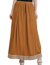 ae5488feaee96 Exotic India Plain Elastic Long Skirt with Golden Border - Color Bone  BrownGarment Size Free Size