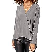 RONDAA V-Neck Long-Sleeve Chiffon Shirt Ladies Tops Thin Coat Spring and Autumn