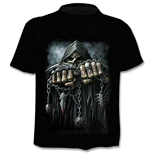 NSDX Herren 3D T-Shirt Männliches Skelett Interne Organe 3D Gedruckt Rundhals Kurzarm T-Shirt Anime Lustige Halloween Männer T-Shirt