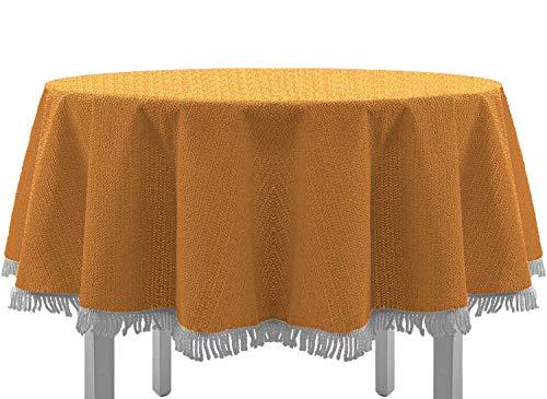 EXKLUSIV HEIMTEXTIL Gartentischdecke mit Fransen Tischdecke rund oval eckig Classic 160 cm rund orange - Garten Runde Und Runde