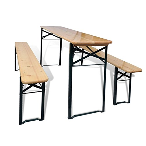 Bierzeltgarnitur mit Tisch und 2 Bänken 177 cm Gartengarnitur Kiefernholz
