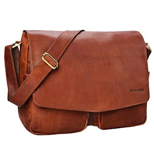 STILORD \'Leonardo\' Herren Ledertasche Umhängetasche Vintage große Businesstasche für Büro Arbeit Uni mit 15.6 Zoll Laptopfach aus echtem Büffel Leder, Farbe:Cognac - braun