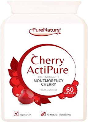 Cherry ActiPure 100% Pure Montmorency Cherry 50% Higher Strength for Best Results 60 Capsules |100% Quality Assured Guarantee |FREE UK DELIVERY by Distributed by Be-Beautiful-Online