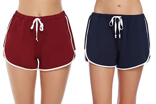 iClosam Shorts Damen Kurz Hosen Schlafanzughose Kurz Schlafhose Kurze Baumwolle Pyjamahose Sportshorts Stoffhose für Yoga Sport Jogging Gym Running Beiläufige Elastische (Damen-yoga-hosen Kurz)