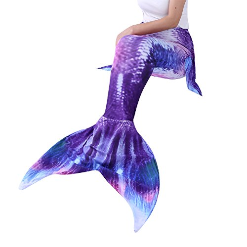 YiZYiF Erwachsene Frauen Meerjungfrau Schwanz Flossen Badeanzug Schwimmen Kostüme für Strandurlaub Performance Cosplay Lila & Rot Medium