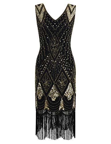 PrettyGuide Damen 1920er Gatsby Art Deco Pailletten Cocktail Charleston Kleid 3XL Gold