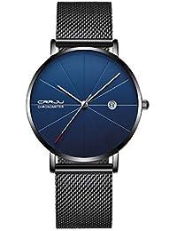 Reloj analógico de cuarzo minimalista para hombre con fecha de cara azul y malla de acero