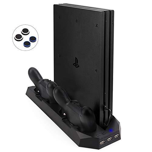 Verbesserte FlexDin PS4 Pro / PS4 Slim Standfuß Vertikal Stand mit Kühler Lüfter & USB Hub, PlayStation 4 Pro / Slim Controller Ladestation Aufladestation, Ladegerät für DualShock 4 Controller