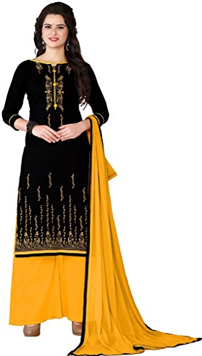 Aadhya Creartion Embroidred Black Colour Cambric Cotton Regular and Party wear Punjabi...