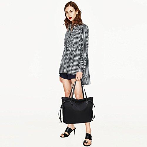NICOLE&DORIS Vintage Frauen Tote Handtaschen Umhängetasche Crossbody Tasche Reisetasche Large Capacity Canvas Schwarz Schwarz