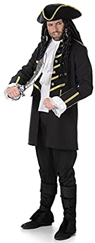 Black Pirate Mens Fancy Dress Caribbean Buccaneer Book Day Week