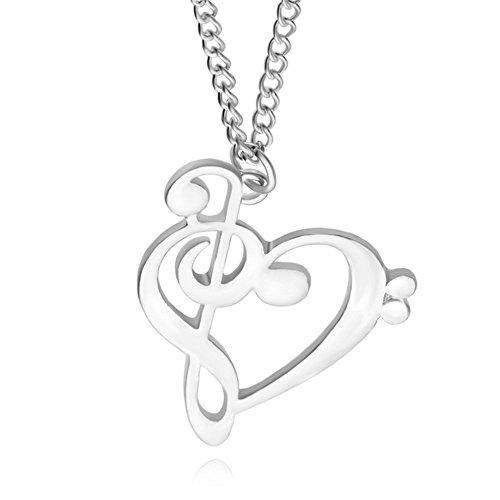 fablcrew Damen–Halskette mit Anhänger–Herzen von Note Musik-Hohl–Silber–Legierung–50cm