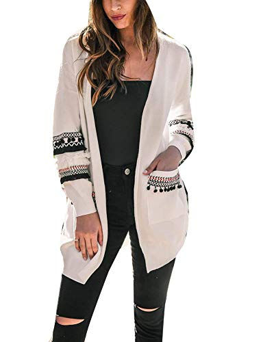 Damen Strickjacke Kaschmir Langarm Strickmantel Cardigan Outwear Weiß XL