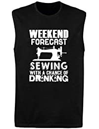 T-Shirtshock_ Singlete para los Hombre Negro WES1081 Weekend Forecast Sewing with A Chance of