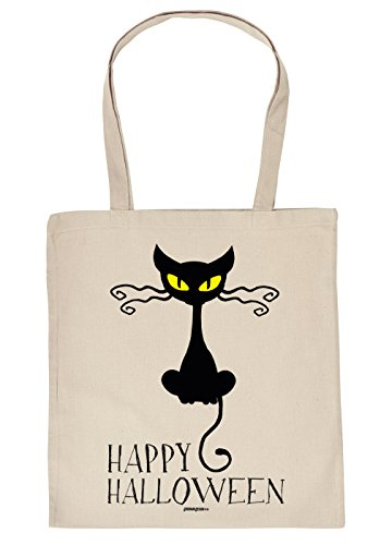 Halloween-Tasche/Spaß-Tasche/Einkaufstasche/Stoffbeutel: Happy Halloween Cat - Geschenkidee
