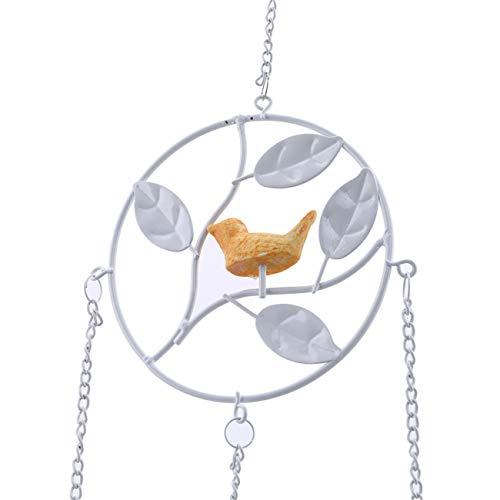 dernière sélection guetter énorme inventaire Bigsweety Cloche en métal Vintage Ronde avec Pendentif Carillon en Fer  forgé avec Jardin d'oiseaux en Plein air décor à la Maison (Blanc)