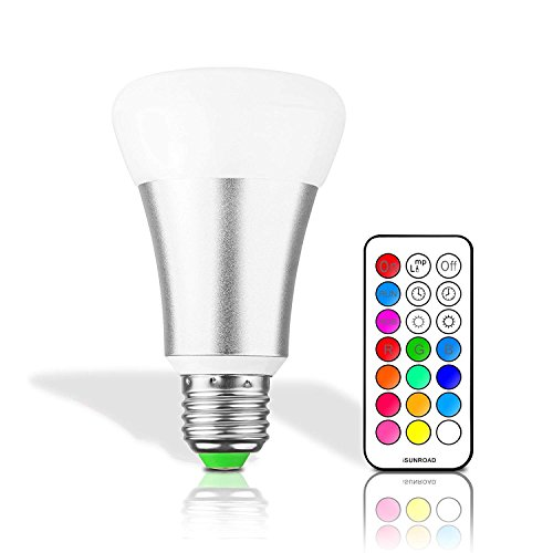 LemonBest® 10W E27 RGBW LED Color Changing Light Bulb with 21 Key Remote Control, 12 Multiple Colors Dimmable Mood Lighting Lamp, AC 85-265V