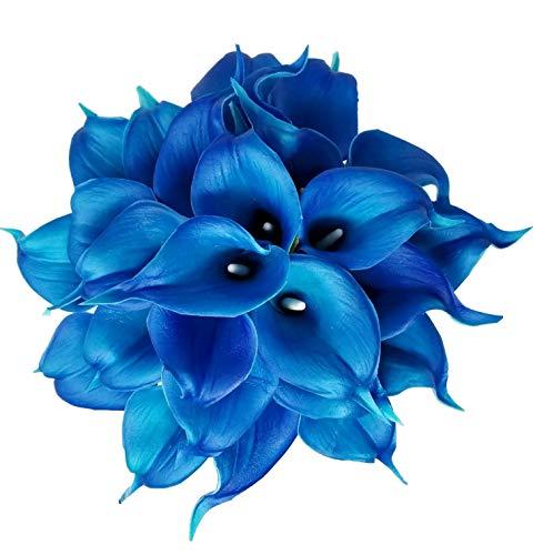 Meide Group USA Calla-Lilienstrauß aus Latex, 35,6 cm, für Zuhause, Hochzeitssträuße, Tafelaufsätze Pacific Blue -