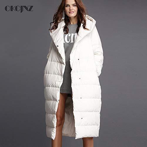 GUXIU Manteau Long à Capuchon épais Blanc Chaud de Canard Blanc de Canard de Manteau de Plume d'oie des Femmes de Manteaux Long