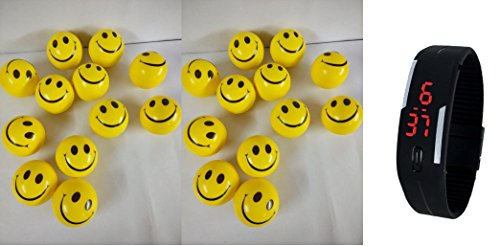 Lemonade - Birthday Return Gifts for Kids - 24 Pcs Set of Smiley FACE Squeeze Ball with Free Digital Led Bracelet Wrist Band for Kids