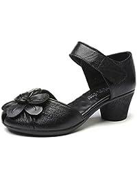 Socofy Sandalias de Cuero Loop Circle Flower Block Moda Retro Cómodo Zapatos de Cabeza Redonda con Tacón Medio Confort Casual Caminar Sandalias de Verano Mocasines Slipper Casual