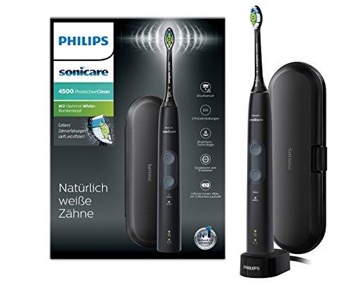 Philips Sonicare ProtectiveClean 4500 elektrische Zahnbürste HX6830/53 - Schallzahnbürste mit 2 Putzprogrammen, Andruckkontrolle, Timer & Reise-Etui - Schwarz