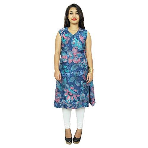 Aus reiner Baumwolle Frauen tragen Ärmel Printed Kleid Strand Indisches verursachendes Kleid Blau