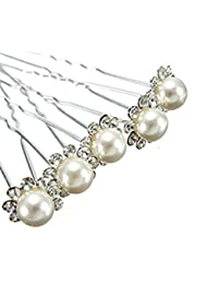 6 x Wedding Bridal Prom Diamante and White Faux Pearl Flower Hair Pins by RM Gifts and Toys