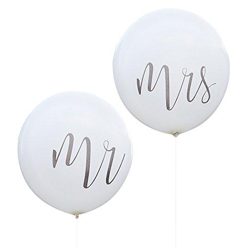 Riesen Hochzeits-Ballons / Luft-Ballons XXL Mr & Mrs in weiß - Durchmesser pro Ballon ca. 90cm - Inhalt 2 Stück - Hochzeits-Deko / Hochzeits-Zubehör / Dekoration Heirat / Luft-Ballons groß
