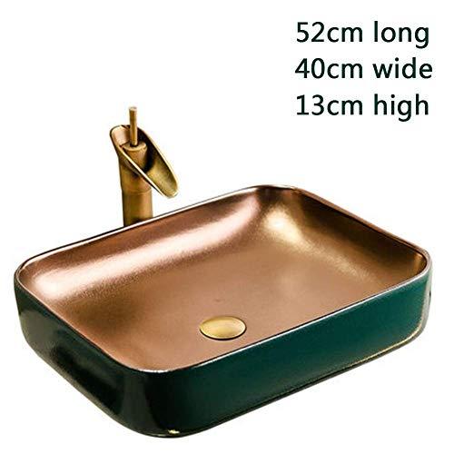 OHHG Rechteckige Aufsatzwaschbecken Waschbecken Keramikbehälter Kunstwaschbecken Retro Metall Einfache Ton Bronze Wasserhahn Drainage Set C -