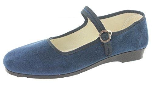 MIK funshopping Samt-Ballerina China Flat Jeans Blue Blau 40 Denim Chinos