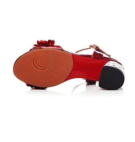 WZG sandales en cuir épais femmes avec des chaussures ouvertes à talons hauts strass fleurs avec les chaussures de mode de mot chaussures grande taille Red