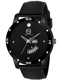 MontVitton Analogue Men's Watch (Black Dial Black Colored Strap)