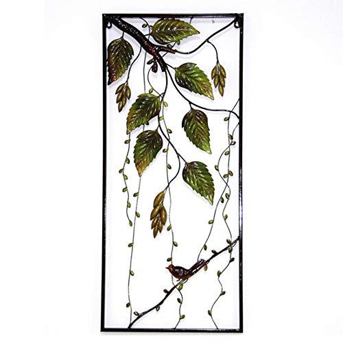 FENDOUBA Metal Wall Art - Vögel Ruhen Unter Dem Grünen Blatt Zweig Skulptur Anhänger Mit Rahmen für Innen- Und Außengarten Dekor 35x15 Zoll -