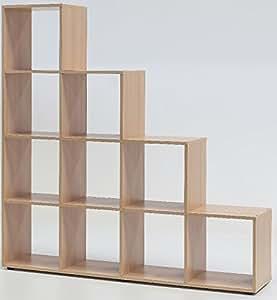 5 5 6 2103 made in brd raumteiler modernes regal standregal treppenform buche dekor. Black Bedroom Furniture Sets. Home Design Ideas